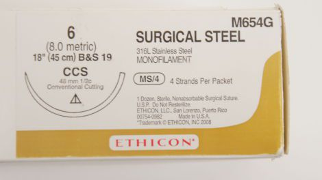 M653G +SURGICAL STEEL 5 (ETHISTEEL) 1/2 CIRCLE CUTTING CCS 48MM